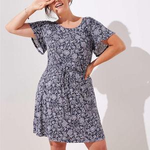 Ann Taylor LOFT Plus Floral Tie Waist Flare Dress
